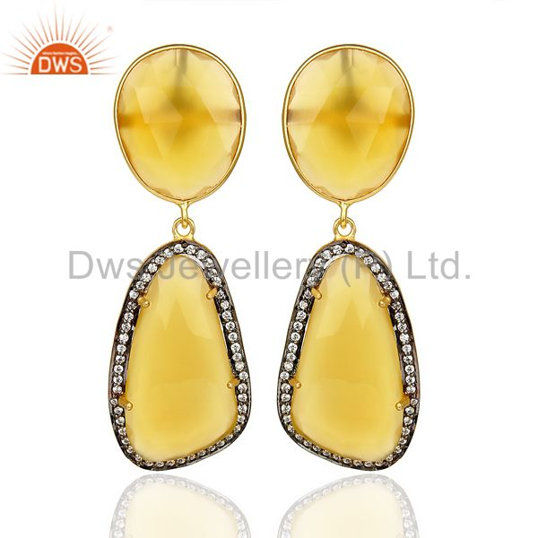 Yellow Chalcedony Gemstone 925 Sterling Silver Fancy Shape Dangle Earring