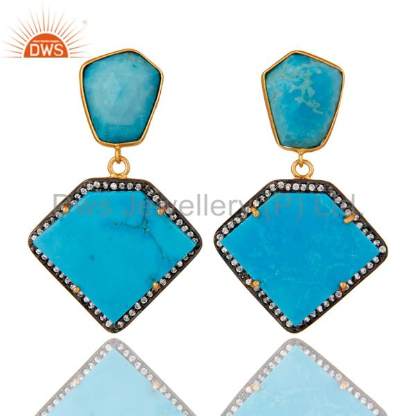 Cultured Turquoise Cubic Zirconia 18K Gold Plated 925 Sterling Silver Earrings