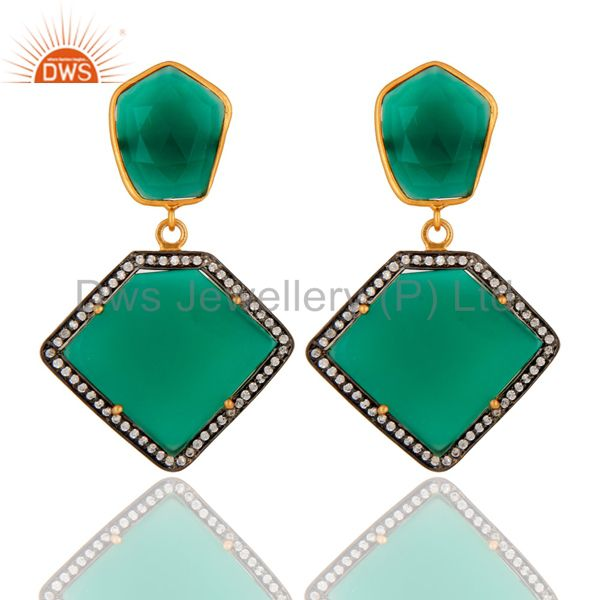 18K Gold Plated Sterling Silver Green Onyx Gemstone Earring With White Zircon