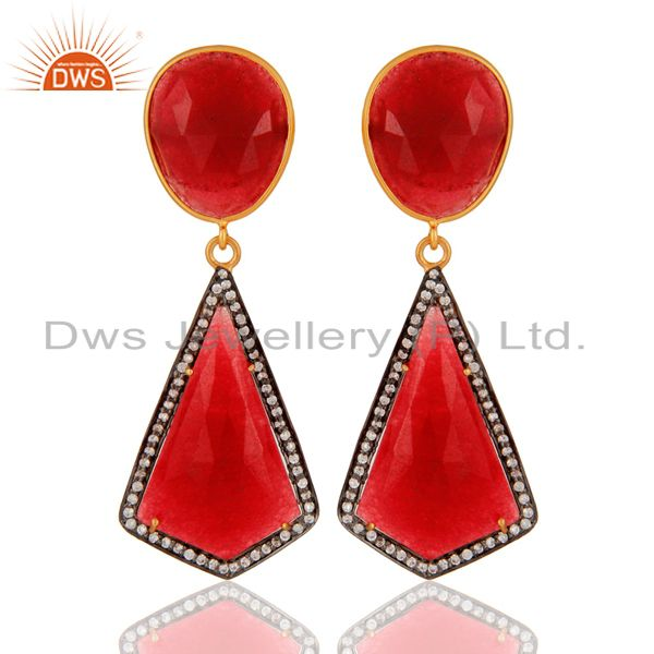 Handmade 925 Sterling Silver Red Aventurine & White Zircon Designer Earrings
