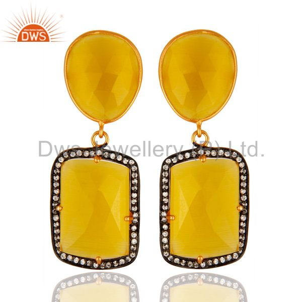Gold-Plated Sterling Silver Yellow Moonstone Prong-Set Gemstone Drop Earrings