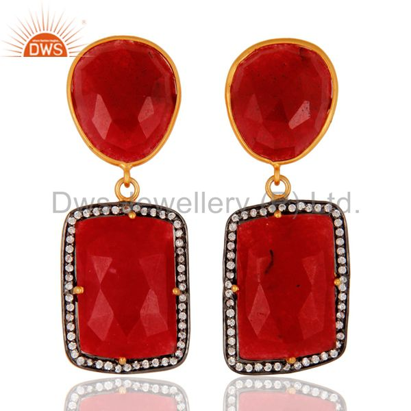 925 Sterling Silver Faceted Red Aventurine Fancy Shape Gemstone Earring With CZ