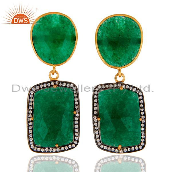 Natural Green Aventurine Gemstone & White Zircon Earring made In Sterling Silver