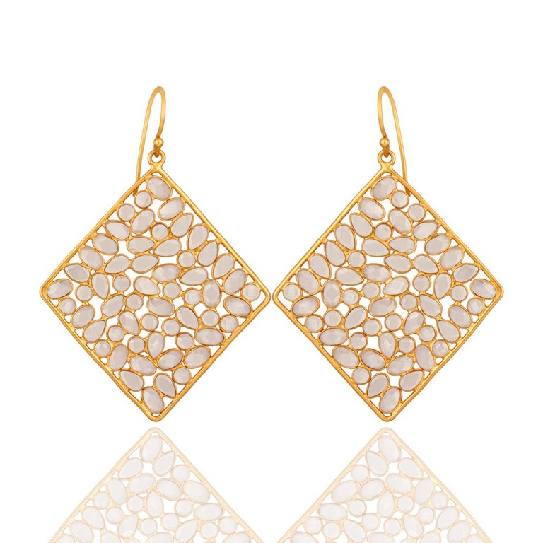 925 Serling Silver Cubic Zirconia Highly Polished 18K Gold-Plated Dangle Earring