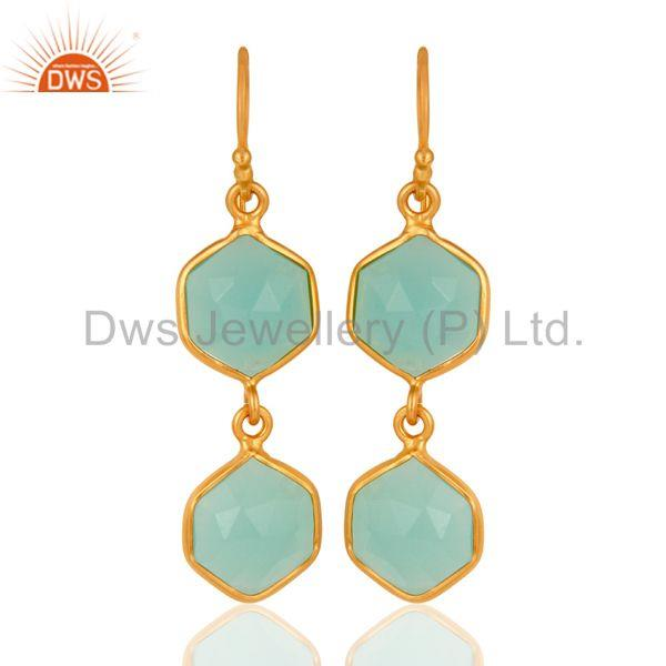 Sterling Silver Created Aqua Chalcedony Gemstone Gold Plated Dangle Earrings