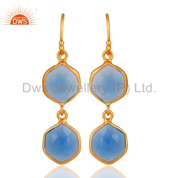 Blue Chalcedony Gemstone Designer Earrings In 22K Gold On Sterling Silver