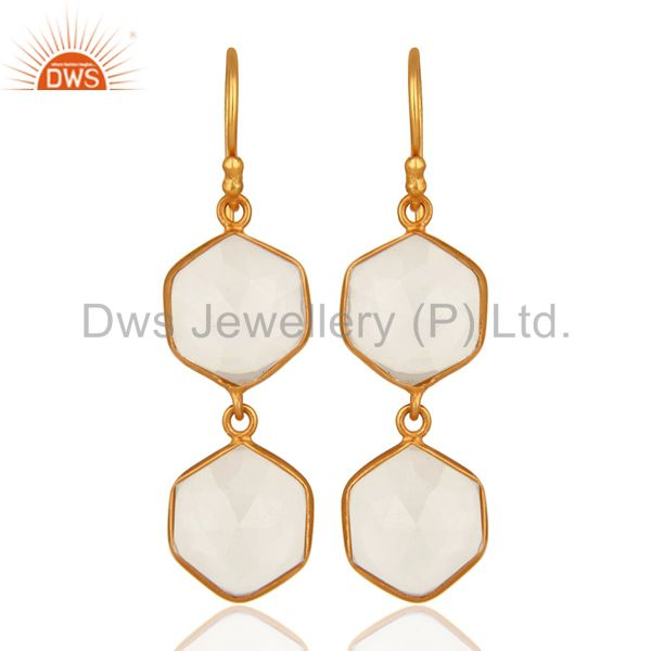 Natural Crystal Quartz 925 Sterling Silver Dangle Earrings, Gold Plated Jewelry