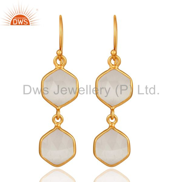 Designer Sterling Silver With 24K Gold Plated Moonstone High Polished Earrings