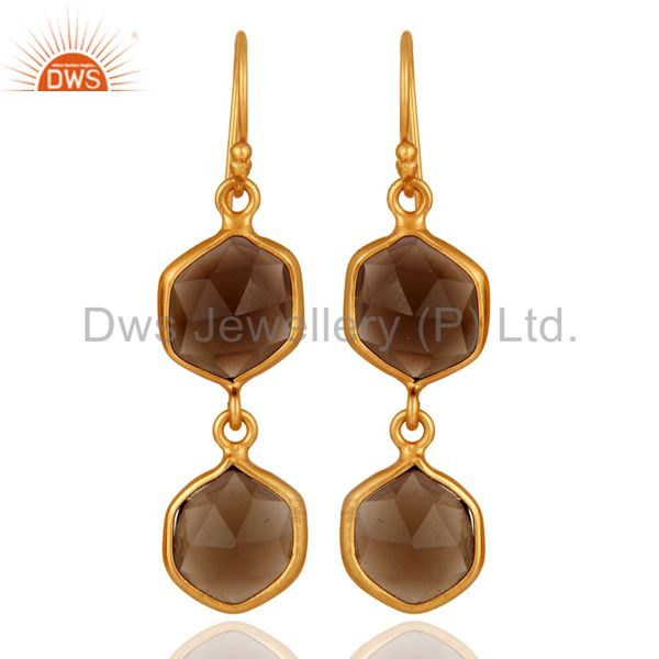 18ct Yellow Gold Plated Smoky Quartz Gemstone 925 Sterling Silver Earrings