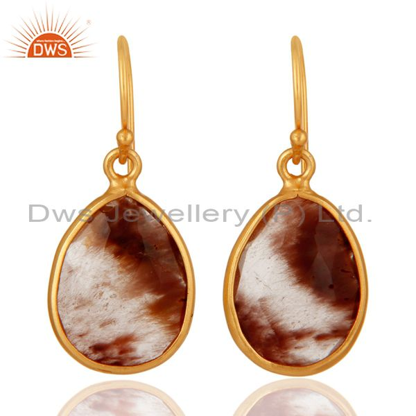 18K Yellow Gold Plated Sterling Silver Golden Rutilated Quartz Earrings