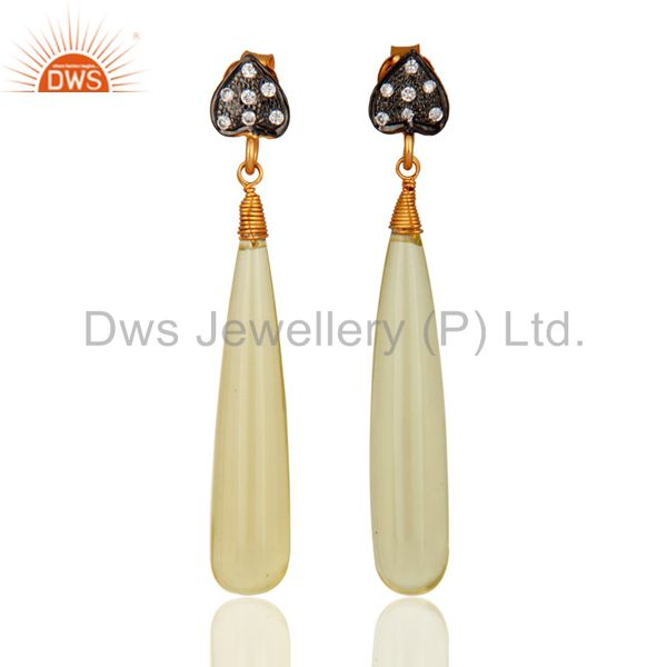 18K Yellow Gold Plated Sterling Silver Lemon Topaz Dangle Earrings With CZ