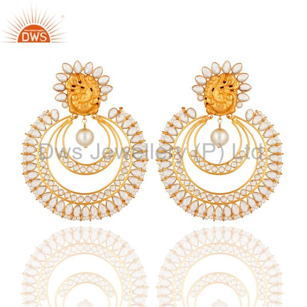 Handmade Gold Plated Sterling Silver And Pearl Beautiful Bridal Fashion Earrings