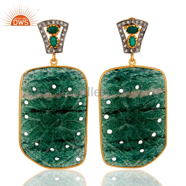 Carved Aventurine Gemstone Dangle Earrings With CZ In 18K Gold Over Silver 925