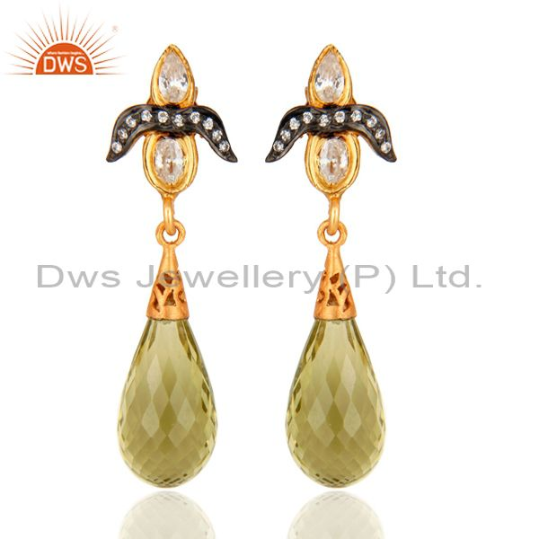 Lemon Topaz and White Zircon 18K Gold On Sterling Silver Gemstone Drop Earrings