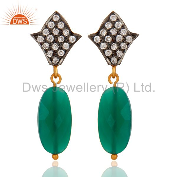 Handmade 925 Sterling Silver Green Onyx & 24K Gold Plated Drop Earrings With CZ