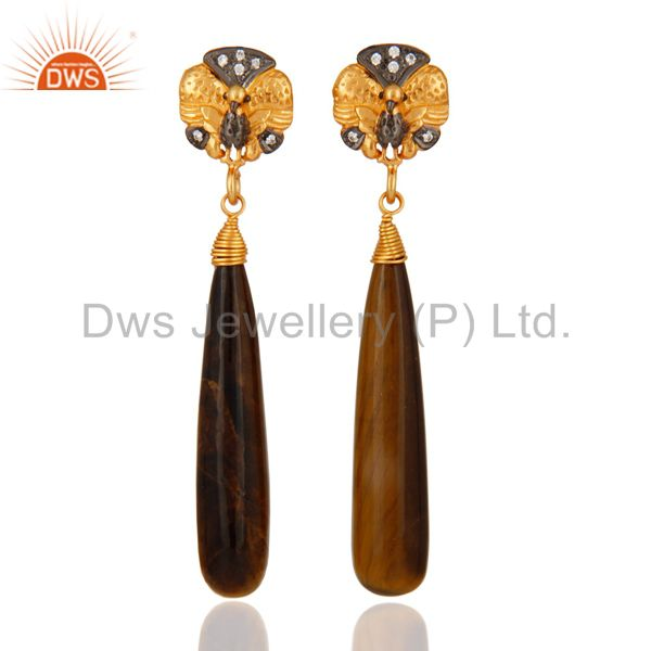 22K Gold Plated Sterling Silver Tiger Eye Polished Drop Peacock Design Earrings