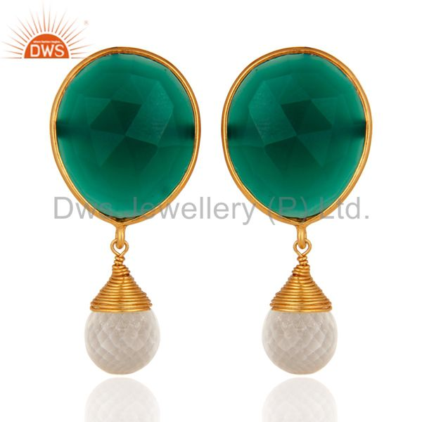 22K Yellow Gold Plated Sterling Silver Green Onyx & Crystal Quartz Drop Earrings