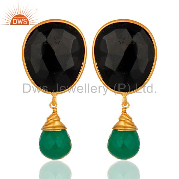18-Carat Gold Plated Sterling Silver Genuine Green Onyx And Black Onyx Earrings