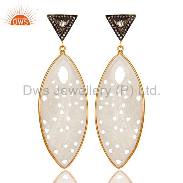 18K Gold Over Silver Mother Of Pearl Carved Bezel Set Dangle Earrings With CZ