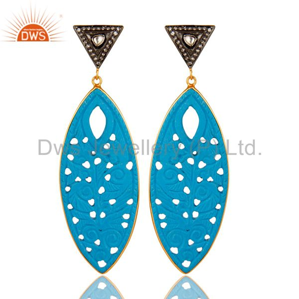 18K Gold Plated Sterling Silver CZ & Turquoise Gemstone Carved Dangle Earrings