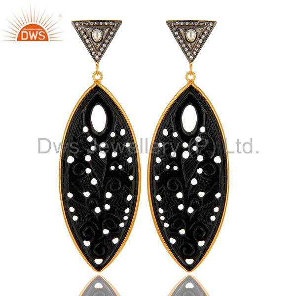 18K Gold Plated Sterling Silver Black Onyx Carved And cz Dangle Earrings