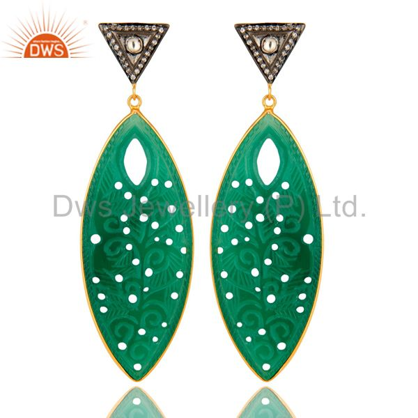 18K Gold Plated Sterling Silver CZ & Green Onyx Gemstone Carving Dangle Earrings