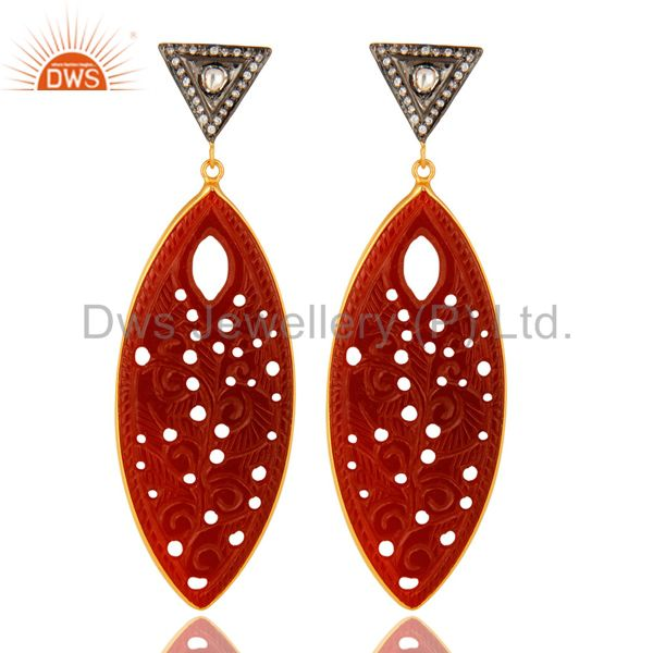 Carved Red Onyx Gemstone And CZ Dangle Earrings In 18K Gold Over Sterling Silver
