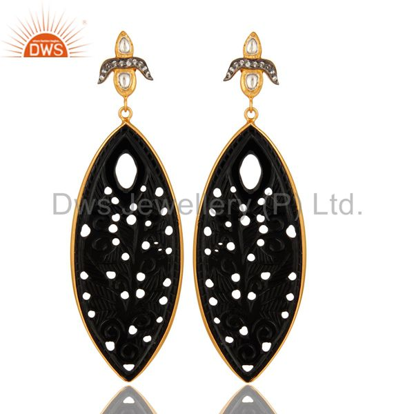 Black Onyx Gemstone Carving Bezel Set Dangle Earrings In 18K Gold On Silver