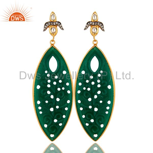 18K Gold Over Silver Green Onyx Gemstone Carving Bezel Set Dangle Earrings