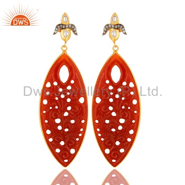 18K Gold Plated Sterling Silver Red Onyx Gemstone Carved Dangle Earrings
