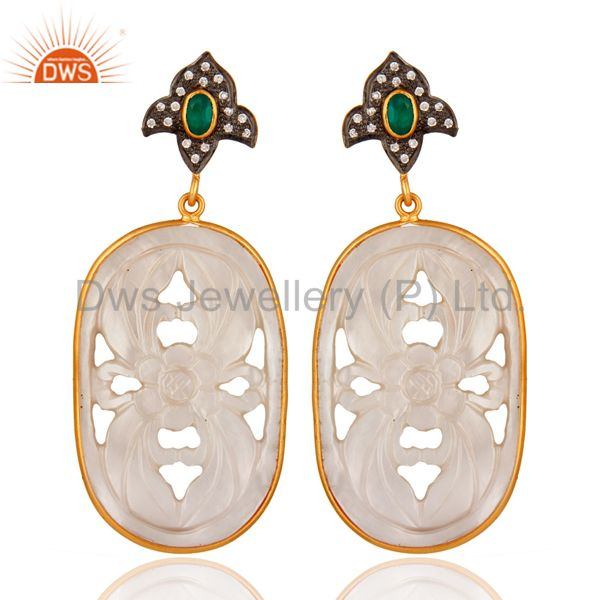 Green Onyx And CZ 925 Silver Carved Mother of Pearl Earrings - Gold Plated