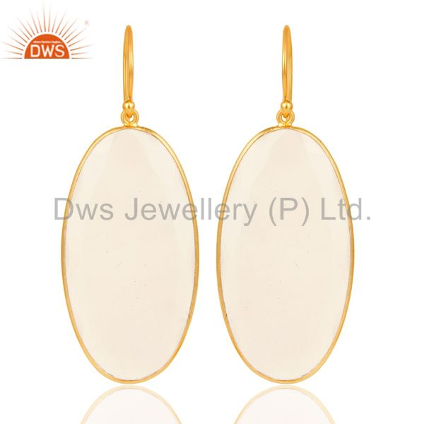 18K Yellow Gold Plated 925 Sterling Silver Natural Chalcedony Dangle Earrings