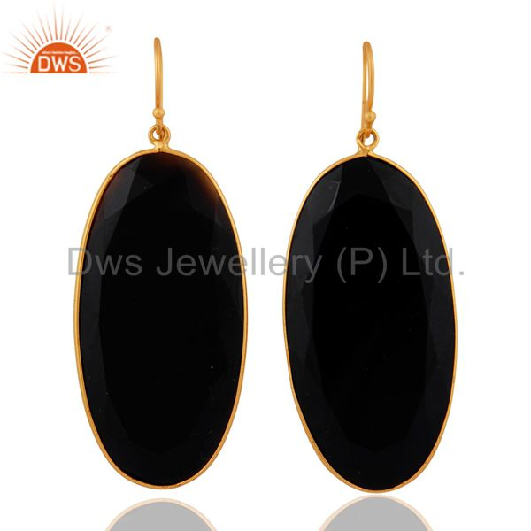 18K Gold Plated Sterling Silver Black Onyx Gemstone Bezel Set Dangle Earrings