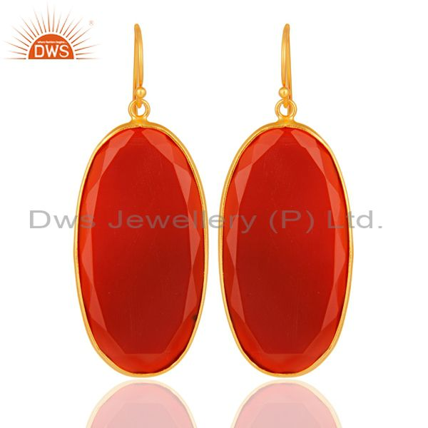 Faceted Red Onyx Gemstone Bezel-Set Sterling Silver Earrings - Gold Plated