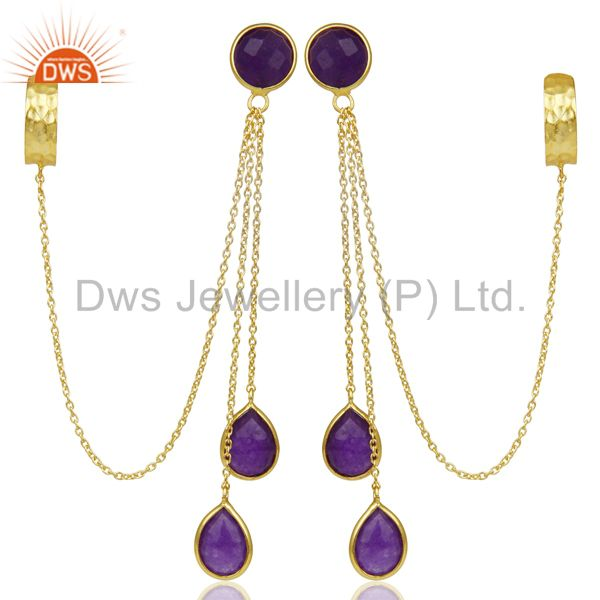 14K Gold Plated 925 Sterling Silver Natural Amethyst Aventurine Dangle Earrings