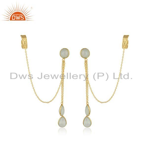 Aqua Chalcedony Gemstone Silver Gold Plated Earrings Jewelry Supplier