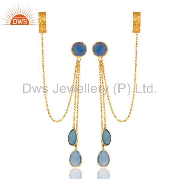 18K Yellow Gold Plated Sterling Silver Blue Chalcedony Chain Ear Cuff Earrings