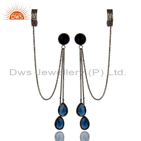 Oxidized Sterling Silver Blue Corundum Gemstone Chain Fashion Ear Cuff Earrings