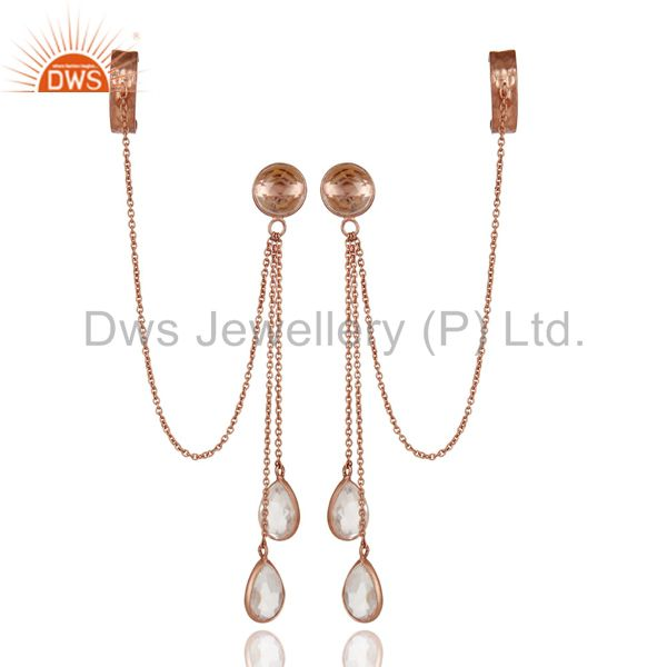 18K Rose Gold Plated Sterling Silver Crystal Quartz Chain Ear Cuff Earrings