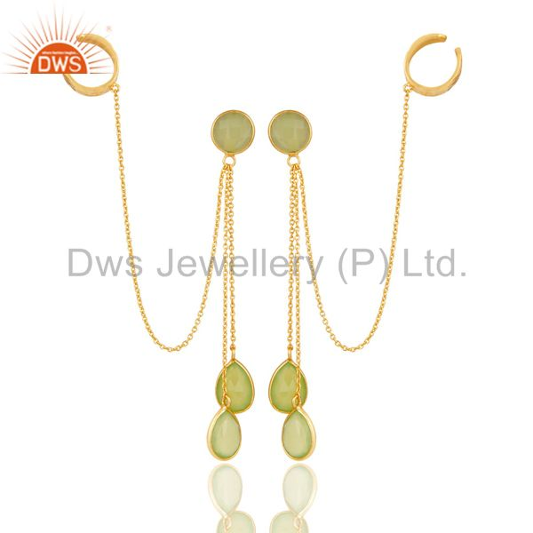 18K Yellow Gold Plated Sterling Silver Green Chalcedony Ear Cuff Earrings