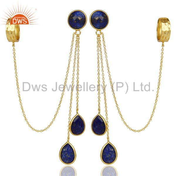 18K Yellow Gold Plated 925 Sterling Silver Lapis Lazuli Chain Ear Cuff Earrings