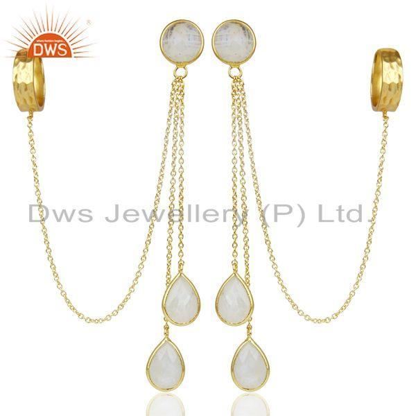 18K Gold Plated 925 Sterling Silver Rainbow Moonstone Chain Ear Cuff Earrings