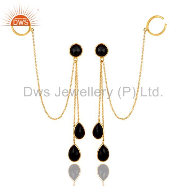 18K Yellow Gold Plated Sterling Silver Black Onyx Womens Ear Cuff Earrings