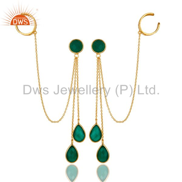 18K Yellow Gold Plated Sterling Silver Green Onyx Chain Ear Cuff Earrings