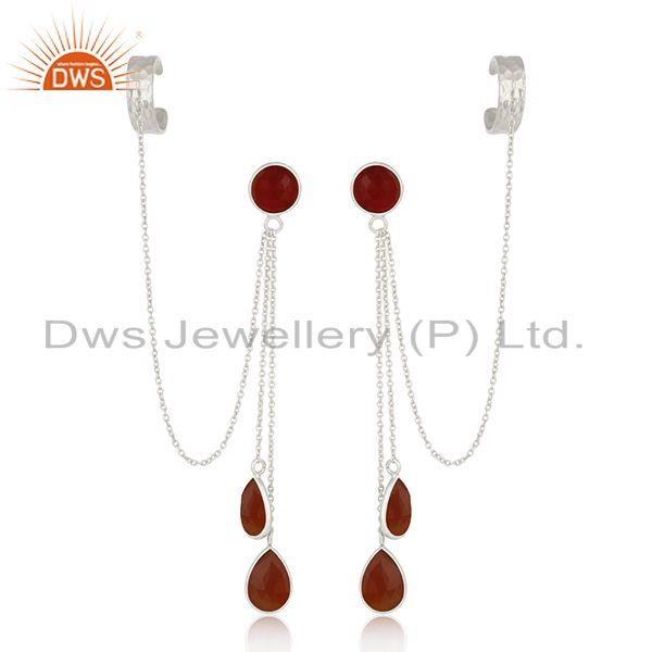 Red Onyx Gemstone Fine Sterling Silver Designer Ear Cuff Earrings Manufacturer