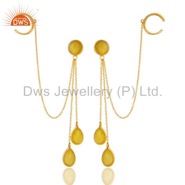 18K Gold Plated Sterling Silver Yellow Chalcedony Fashion Chain Ear Cuff Earring