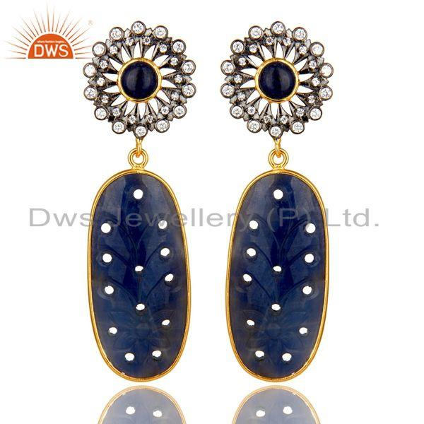 Blue Sapphire Zircon 22K Gold Plated 925 Sterling Silver Earrings Jewelry