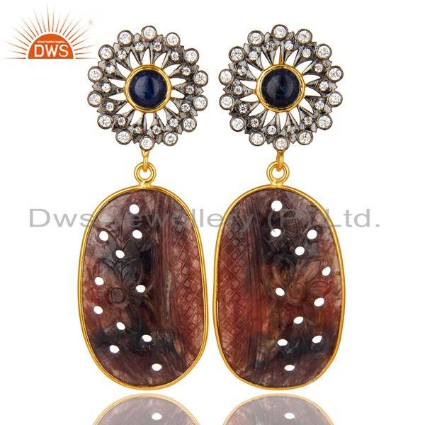22K Gold Plated Sterling Silver Multi Sapphire Carved Dangle Earrings With CZ