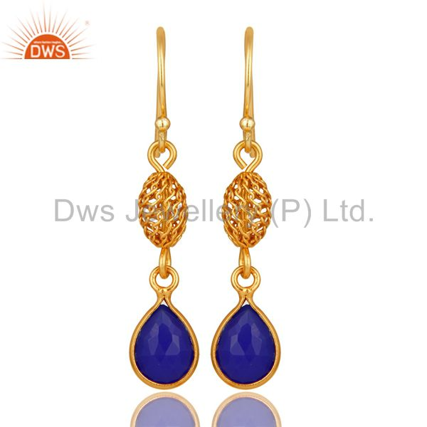 14K Gold Plated Sterling Silver Blue Aventurine Gemstone Designer Dangle Earring