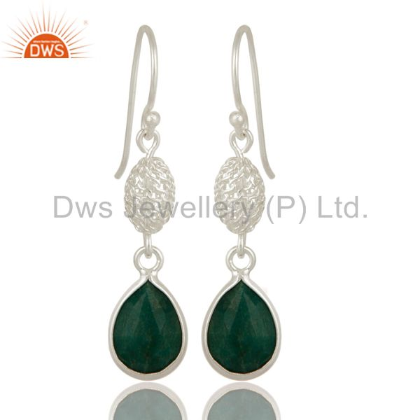 Emerald Green Corundum Sterling Silver Bezel-Set Drop Earrings